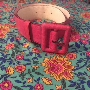 vintage Yves Saint Laurent pink embossed belt